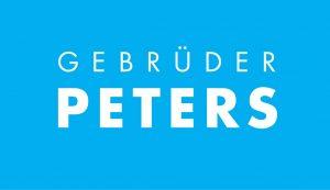 Logo Firma Gebrüder Peters weiße Schrift auf hellblauem Untergrund